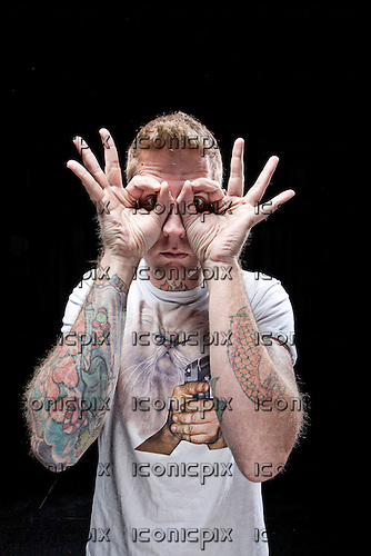 Mastodon - drummer Brann Dailor - portrait photographed at the Academy in Manchester UK - Feb 20, 2010.  Photo: © Ashley Maile/IconicPix *HIGHER RATES APPLY*