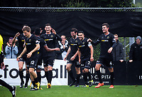 Team Wellington players celebrate Team Wellington's Ross Allen's goal during the Oceania Football Championship final (first leg) football match between Team Wellington and Lautoka FC at David Farrington Park in Wellington, New Zealand on Sunday, 13 May 2018. Photo: Dave Lintott / lintottphoto.co.nz