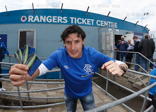 Fran Sandaza at the Rangers Ticket Centre as Ibrox season tickets go on public sale.