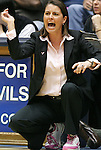 15 February 2012: Duke head coach Joanne P. McCallie. The Duke University Blue Devils defeated the Virginia Tech Hokies 67-45 at Cameron Indoor Stadium in Durham, North Carolina in an NCAA Division I Women's basketball game.