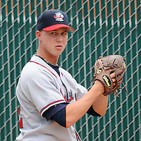 May 8, 2008: LHP Eric Barrett (32) of the Rome Braves, Class A affiliate of the Atlanta Braves, prior to a game against the Greenville Drive at Fluor Field at the West End in Greenville, S.C. Photo by:  Tom Priddy/Four Seam Images