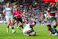 Callum Sheedy of Bristol Bears scores a try in the first half. Gallagher Premiership match, between Leicester Tigers and Bristol Bears on April 27, 2019 at Welford Road in Leicester, England. Photo by: Patrick Khachfe / JMP