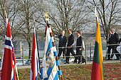 "Strasbourg, France - April 4, 2009 -- NATO Secretary Jaap de Hoop Scheffer; Barack H. Obama, President of the United States of America and Nicolas Sarkozy, President of France crossing the ""Passerelle de deux rives"" from Germany into France on Saturday, April 4, 2009..Mandatory Credit: NATO via CNP"