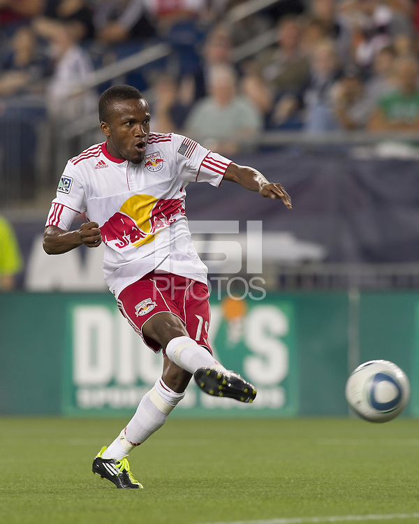 New York Red Bulls forward Dane Richards (19) scores. In a Major League Soccer (MLS) match, the New England Revolution tied New York Red Bulls, 2-2, at Gillette Stadium on August 20, 2011.