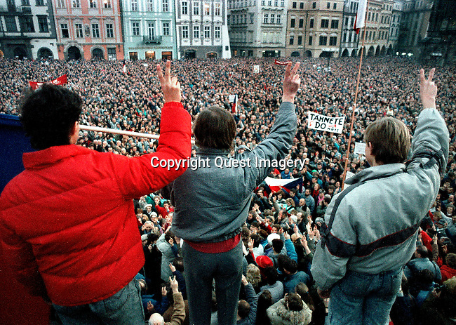Images from the inauguration of Vaclav Havel in 1989 to 1990 Anti-Soviet demonstrations in the Old Town Square, in Prague, Czechoslovakia during the fall of Communism.<br />