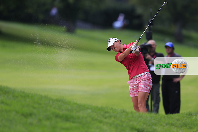 Lee-Anne Pace (RSA) plays her 2nd shot on the 13th hole during Sunday's Final Round of the LPGA 2015 Evian Championship, held at the Evian Resort Golf Club, Evian les Bains, France. 13th September 2015.<br /> Picture Eoin Clarke | Golffile