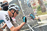 Chris Froome (GBR) Team Sky at sign on before the start of Stage 8 of the 2018 Giro d'Italia, running 209km from Praia a Mare to Montevergine di Mercogliano, Italy. 12th May 2018.<br /> Picture: LaPresse/Gian Mattia D'Alberto | Cyclefile<br /> <br /> <br /> All photos usage must carry mandatory copyright credit (&copy; Cyclefile | LaPresse/Gian Mattia D'Alberto)