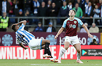 Huddersfield Town's Steve Mounie goes down claiming a foul by Burnley's James Tarkowski<br /> <br /> Photographer Rich Linley/CameraSport<br /> <br /> The Premier League - Burnley v Huddersfield Town - Saturday 6th October 2018 - Turf Moor - Burnley<br /> <br /> World Copyright &copy; 2018 CameraSport. All rights reserved. 43 Linden Ave. Countesthorpe. Leicester. England. LE8 5PG - Tel: +44 (0) 116 277 4147 - admin@camerasport.com - www.camerasport.com