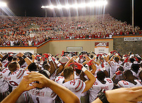 Ohio State sings Carmen Ohio following the Buckeyes' 42-24 win over Virginia Tech in the NCAA football game at Lane Stadium in Blacksburg, Virginia on Sept. 7, 2015. (Adam Cairns / The Columbus Dispatch)