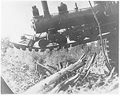 RGS 4-6-0 #25 (1st) hanging on the Starvation Creek Trestle rails (Bridge 138-A).<br /> RGS  Starvation Creek, CO  8/14/1909