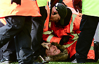 Stewards hold down pitch invader during the Sky Bet Championship match between Aston Villa and Birmingham City at Villa Park, Birmingham, England on 11 February 2018. Photo by Bradley Collyer/PRiME Media Images.