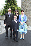 Ryan Donnelly with his family at Slane NS Communion...(Photo credit should read Jenny Matthews www.newsfile.ie)....This Picture has been sent you under the conditions enclosed by:.Newsfile Ltd..The Studio,.Millmount Abbey,.Drogheda,.Co Meath..Ireland..Tel: +353(0)41-9871240.Fax: +353(0)41-9871260.GSM: +353(0)86-2500958.email: pictures@newsfile.ie.www.newsfile.ie.