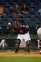 Mississippi Braves catcher Carlos Martinez (54) throws down to second base during a Southern League game against the Jacksonville Jumbo Shrimp on May 4, 2019 at Trustmark Park in Pearl, Mississippi.  Mississippi defeated Jacksonville 2-0.  (Mike Janes/Four Seam Images)