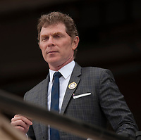 DEL MAR, CA - NOVEMBER 03: Chef Bobby Flay watches a race on Day 1 of the 2017 Breeders' Cup World Championships at Del Mar Thoroughbred Club on November 3, 2017 in Del Mar, California. (Photo by Carson Dennis/Eclipse Sportswire/Breeders Cup)