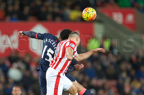 02.03.2016. The Britannia Stadium, Stoke, England. Barclays Premier League. Stoke City versus Newcastle United. Newcastle United defender Jamaal Lascelles and Stoke City forward Jonathan Walters jump for the ball.