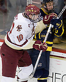 Jimmy Hayes (BC - 10), Adam Ross (Merrimack - 26) - The Boston College Eagles defeated the Merrimack College Warriors 7-0 on Tuesday, February 23, 2010 at Conte Forum in Chestnut Hill, Massachusetts.