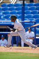Daytona Tortugas left fielder Taylor Trammell (5) follows through on a swing during a game against the Dunedin Blue Jays on April 22, 2018 at Dunedin Stadium in Dunedin, Florida.  Daytona defeated Dunedin 5-1.  (Mike Janes/Four Seam Images)