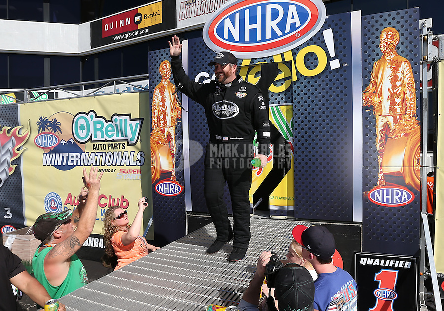Feb. 17, 2013; Pomona, CA, USA; NHRA top fuel dragster driver Shawn Langdon during the Winternationals at Auto Club Raceway at Pomona. Mandatory Credit: Mark J. Rebilas-
