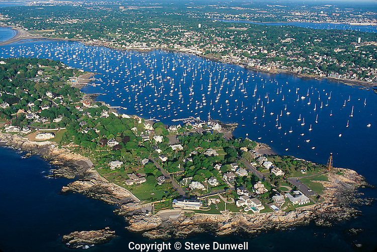 Marblehead harbor, aerial, MA with Marblehead Neck in foreground and harbor filled with sailboats
