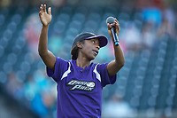"Winston-Salem Dash ""Dash Pack"" member Brooke Thomas gets the crowd going during player introductions prior to the game against the Lynchburg Hillcats at BB&T Ballpark on May 3, 2018 in Winston-Salem, North Carolina. The Dash defeated the Hillcats 5-3. (Brian Westerholt/Four Seam Images)"