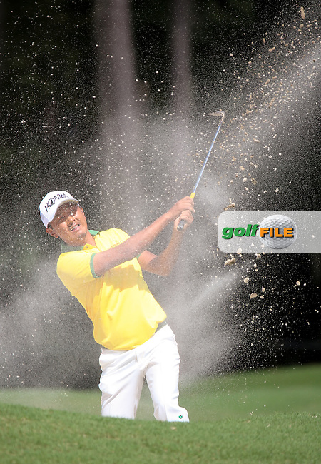 15 OCT 01  Japanese rookie Hiroshi Iwata blasting out of a bunker on 3 during Saturday's Third Round of the WEB.com Championship at The TPC Sawgrass Valley Course in Ponte Vedra Beach, Florida.(photo credit : kenneth e. dennis/kendennisphoto.com)