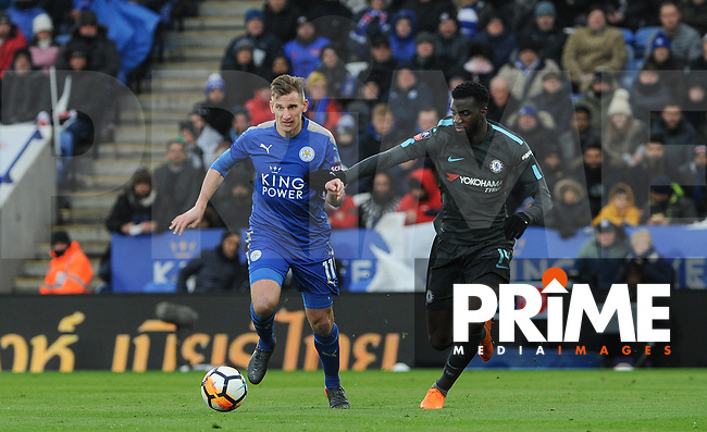 Marc Albrighton of Leicester City & Tiemoue Bakayoko of Chelsea during the FA Cup QF match between Leicester City and Chelsea at the King Power Stadium, Leicester, England on 18 March 2018. Photo by Stephen Buckley / PRiME Media Images.