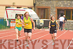 Sheila O'Donoghue Gneeveguilla leads Caroline Murphy, Joan O'Sullivan Gneeveguilla and Ann Ladden Farranfore/Maine Valley in 100 metres in the Junior and Master Athletic championships at An Riocht, Castleisland on Wednesday evening
