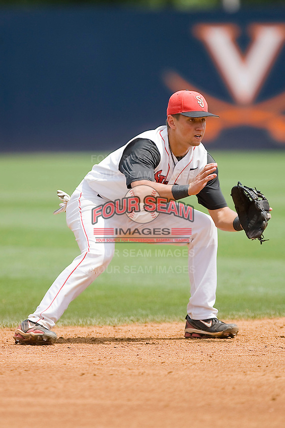 Shortstop Joe Panik #2 of the St. John's Red Storm on defense against the VCU Rams at the Charlottesville Regional of the 2010 College World Series at Davenport Field on June 5, 2010, in Charlottesville, Virginia.  The Red Storm defeated the Rams 8-6.  Photo by Brian Westerholt / Four Seam Images