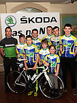 PR Manager for SKODA Events and Sponsorship Cathal Kealey with Drogheda Wheelers club members at the Launch of SKODA Ras na N'og 2017 held in The Thatch.                           Photo: Jenny Matthews/pressphotos.ie
