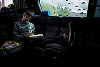 On the road Luke Durbridge (AUS/Mitchelton-Scott) keeps a daily journal > pen on paper even...<br /> <br /> Stage 3: Vinci to Orbetello (219km)<br /> 102nd Giro d'Italia 2019<br /> <br /> ©kramon