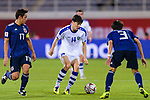 Eldor Shomurodov of Uzbekistan (C) competes for the ball with Muroya Sei of Japan (R) during the AFC Asian Cup UAE 2019 Group F match between Japan (JPN) and Uzbekistan (UZB) at Khalifa Bin Zayed Stadium on 17 January 2019 in Al Ain, United Arab Emirates. Photo by Marcio Rodrigo Machado / Power Sport Images