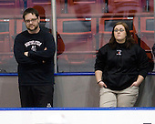 Matt Nareski (NU - Equipment Manager), Brenda Maguire - The Northeastern University Huskies defeated the Providence College Friars 3-1 (EN) on Tuesday, January 19, 2010, at Matthews Arena in Boston, Massachusetts.