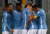 Calcio, Serie A: Lazio vs Udinese. Roma, stadio Olimpico, 13 settembre 2015.<br /> Lazio&rsquo;s Alessandro Matri, second from right, celebrates with teammates after scoring during the Italian Serie A football match between Lazio and Udinese at Rome's Olympic stadium, 13 September 2015.<br /> UPDATE IMAGES PRESS/Isabella Bonotto