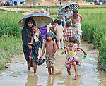 People wade through a flooded rice field in the Jamtoli Refugee Camp near Cox's Bazar, Bangladesh. More than 600,000 Rohingya refugees have fled government-sanctioned violence in Myanmar for safety in this and other camps in Bangladesh.