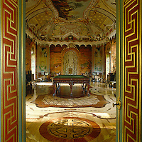 The Large Chinese Salon is where Russian rococo meets chinoiserie, with a marquetry floor and oriental landscapes on the walls