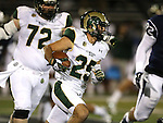 Colorado State's Joe Hansley (25) runs against Nevada during the first half of an NCAA college football game in Reno, Nev., on Saturday, Oct. 11, 2014. Colorado State won 31-24. Colorado State's Kevin O'Brien (72) is at left. (AP Photo/Cathleen Allison)