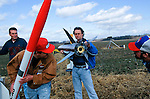 Rocketeers  check out fellow Rocketeer's rocket  motors  at an amateur rocket festival..Manchester, Tennessee.