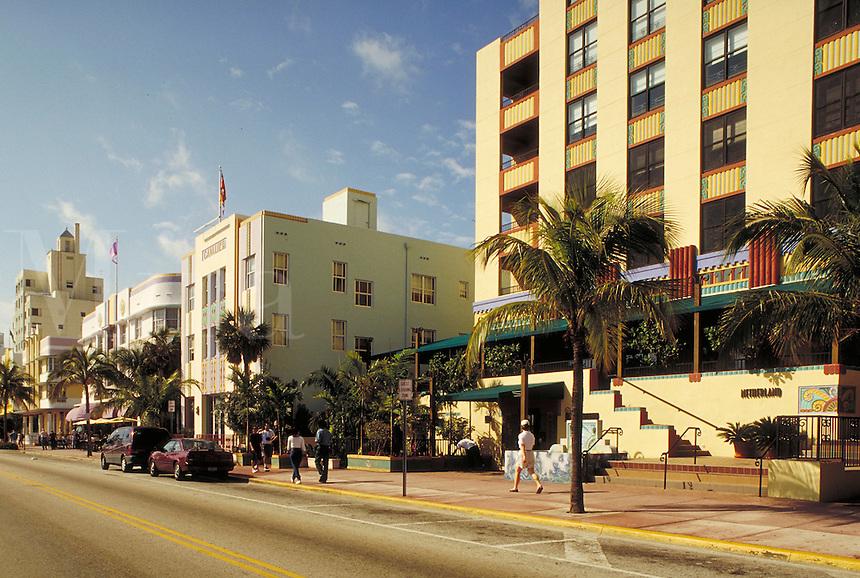Art deco buildings on Ocean Drive in the restored art deco district in Miami Beach, Florida. architecture, cityscape, street scene. Miami Beach Florida, Ocean Drive.
