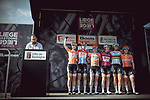 Boels Dolmans Cycling Team at sign on before the 2018 Liege-Bastogne-Liege Femmes running 136km from Bastogne to Ans, Belgium. 22nd April 2018.<br /> Picture: ASO/Thomas Maheux | Cyclefile<br /> All photos usage must carry mandatory copyright credit (&copy; Cyclefile | ASO/Thomas Maheux)