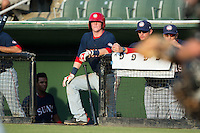 Conor Keniry (11) of the Hagerstown Suns waits for his turn to bat during the game against the Kannapolis Intimidators at CMC-Northeast Stadium on July 19, 2015 in Kannapolis, North Carolina.  The Suns defeated the Intimidators 9-4.  (Brian Westerholt/Four Seam Images)
