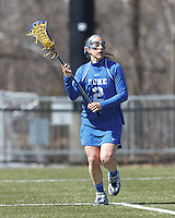 Duke University attacker Makenzie Hommel (2) looks to pass.Boston College (white) defeated Duke University (blue), 10-9, on the Newton Campus Lacrosse Field at Boston College, on April 6, 2013.