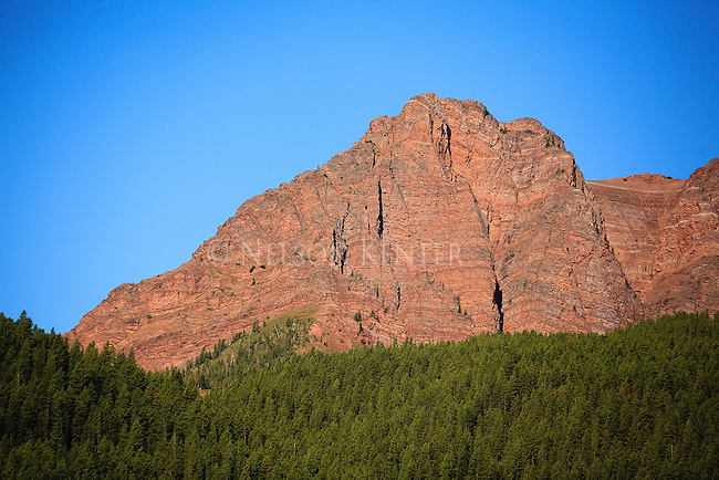 Red Butte in the morning sunlight at the eastern edge of the Bob Marshall Wilderness area in Montana