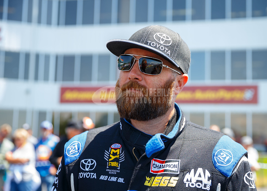 May 6, 2017; Commerce, GA, USA; NHRA top fuel driver Shawn Langdon during qualifying for the Southern Nationals at Atlanta Dragway. Mandatory Credit: Mark J. Rebilas-USA TODAY Sports
