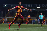 Tyrell Robinson of Bradford City celebrates scoring to make it 4-3 during the Sky Bet League 1 match between Bradford City and Rochdale at the Northern Commercial Stadium, Bradford, England on 9 December 2017. Photo by Thomas Gadd.