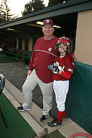 STANFORD, CA - FEBRUARY 20:  Athletic trainer Charlie Miller (left) and his son Tony Miller (right) of the Stanford Cardinal during Stanford's season opener game against the Vanderbilt Commodores on February 20, 2009 at Sunken Diamond in Stanford, California.