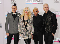 WWW.BLUESTAR-IMAGES.COM  Adrian Young, Gwen Stefani, Tony Kanal and Tom Dumant of No Doubt attend the 40th Anniversary American Music Awards held at Nokia Theatre L.A. Live on November 18, 2012 in Los Angeles, California..Photo: BlueStar Images/OIC jbm1005  +44 (0)208 445 8588..