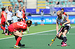 The Hague, Netherlands, June 13: Hannah Krueger #15 of Germany defends against Okju Kim #17 of Korea during the field hockey placement match (Women - Place 7th/8th) between Korea and Germany on June 13, 2014 during the World Cup 2014 at Kyocera Stadium in The Hague, Netherlands. Final score 4-2 (2-0)  (Photo by Dirk Markgraf / www.265-images.com) *** Local caption ***