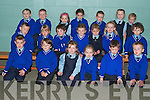 &nbsp;Junior infants on their first day at Killorglin National School on Monday, Front from left, Callum Russell, Caoilfhiom Cary, Grace Joy, Lauren O&rsquo;Sullivan-Griffin, Cameron Murphy, Conor Murphy.<br />