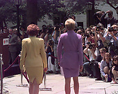 Princess Diana arrives at her press availability at the American Red Cross accompanied by Red Cross President Elizabeth Dole (left) in Washington, DC on June 17, 1997. <br /> Credit: Harry Hamburg / Pool via CNP