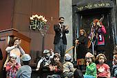 Washington, DC - December 11, 2009 -- Rabbi Gil Steinlauf leads children from the Gan Ha-Yeled pre-school at Washington's Adas Israel Congregation in singing Hanukkah songs after lighting a Hanukkah Menorah, Friday, December 11, 2009 to mark the first night of the Jewish Holiday..Credit: Ron Sachs / CNP
